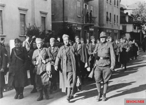 Disarmed Italian soldiers marching to captivity in Bolzano.