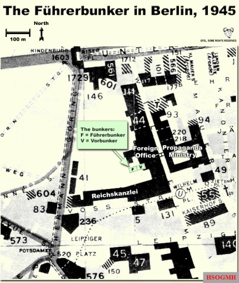 The location of the Führerbunker and Vorbunker in Berlin, 1945.