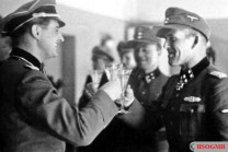 Hans Dorr (right) congratulates Franz Hack on the Knight's Cross.
