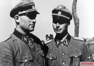 "SS Sturmbannführer Theodor Wisch (commander of the 2nd Battalion of the Leibstandarte SS ""Adolf Hitler"") with his adjutant SS Obersturmführer Josef Diefenthal (right) on the Eastern Front, 1941."
