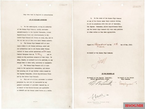 The first instrument of unconditional surrender signed at Reims on 7 May 1945.