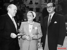 "Field Marshal a. D. Albert Kesselring (leader of the Stahlhelmbundes ), Lucia ""Lucie"" Maria Rommel and Manfred Rommel in September 1954 at the meeting of the Afrikaners at the Heidelberg Castle."