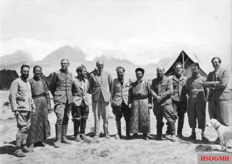 Expedition members with hosts in Gangtok, Sikkim are (from left to right) unknown, unknown Tibetan, Bruno Beger, Ernst Schäfer, Sir Basil Gould, Krause, unknown Tibetan, Karl Wienert, Edmund Geer, unknown, unknown.