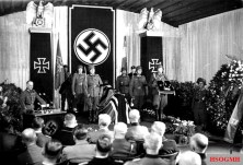Field Marshal Gerd von Rundstedt holds the eulogy for his friend and comrade Field Marshal Erwin Rommel.
