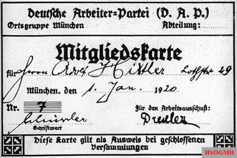 Hitler's membership card for the German Workers' Party (DAP).