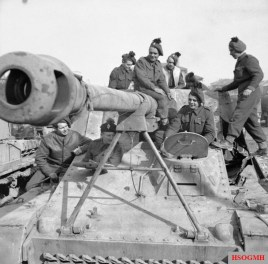 British soldiers on a captured Nashorn in Italy, January 1945.