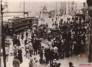 Crowds on the streets in the aftermath of the anti-Serb riots in Sarajevo, 29 June 1914.