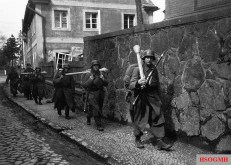 Hitler Youth going to battle in Lauban Lower Silesia), 1945.