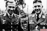 From left to right: Major Helmut Lent (Geschwaderkommodore Nachtjagdgeschwader 3) with Hauptmann Heinrich Ruppel (Nachtjagd Raumführer Leeuwarden / Area Controller of Leeuwarden) in 1943. Raumführer Ruppel had been a pilot on the Western Front in World War I and he was acknowledged to be one of the most skilful fighter controllers in Nachtjagd.