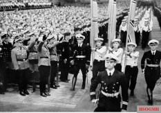 "Hitlerjugend demonstration under the banner of ""Die Ritterkreuzträger der Kriegsmarine Rede an die Hitlerjugend"" (The Knight's Cross Recipients of the German Navy Speech to the Hitler Youth) at the Berlin Sportpalast, 16 June 1943."