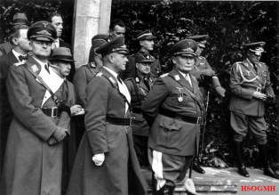 From left: Walther Wever, Erhard Milk, Hermann Goering, Karl-Heinrich Bodenschatz, and Albert Kesselring at the topping-out ceremony of the Reich Aviation Ministry on October 12, 1935.