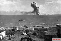 The Liberty ship Robert Rowan explodes spectacularly – but without loss of life – after being hit by a German bomber off Gela, Sicily, on 11 July 1943.