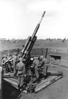 Flak 36 battery in firing position, Germany, 1943.