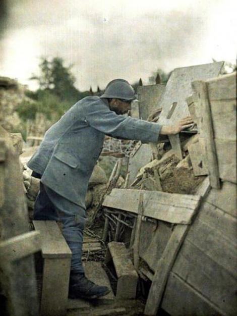 French Army lookout at his observation post, Haut-Rhin, France, 1917.