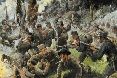 Depiction of the Battle of Doberdò, fought in August 1916 between the Italian and the Austro-Hungarian armies.