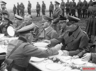 After the Anschluss of the Sudetenland, between Franzensbad and Eger on October 3, 1938. From the right: General Wilhelm Keitel , Konrad Henlein , Adolf Hitler , General Walter von Reichenau , Reichsfuhrer SS Heinrich Himmler, General Guderian, and General Günther von Kluge.