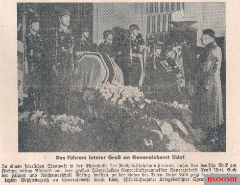 Newspaper articles covering Udet's death and funeral.