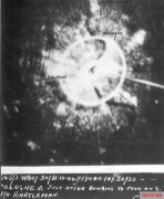 RAF bomber H2S radar display from the 30/31 October 1944 Cologne attack with post-attack annotations.