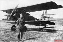 "Ernest Udet beside his Fokker DVII nicknamed ""Lo""."