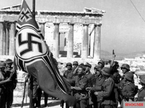 On April 27, 1941, the German Reichskriegsflagge is hoisted in Athens.
