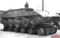 British forces captured the prototype of the E-100 Chassis in 1945, shown here on a trailer.