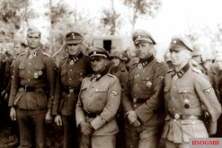 Knight's Cross bearer of the Leibstandarte after the Balkan campaign; from left: Gerhard Pleiß, Theodor Wisch, Sepp Dietrich, Fritz Witt, and Kurt Meyer.