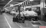 The Volkswagen Beetle – for many years the most successful car in the world – on the assembly line in Wolfsburg factory, 1973.