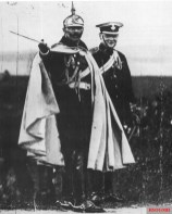 Wilhelm II and Winston Churchill during a military autumn manoeuvre near Breslau, Silesia (Wrocław, Poland) in 1906.