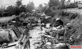 "German convoy destroyed by Polish soldiers in ""Korytarz Śmierci"" (the ""Corridor of Death""."