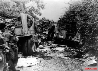 German units destroyed by Polish division near Chambois – somewhere along the road Chambois – Vimoutiers, near Maczuga.