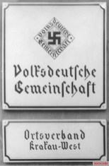 Entry to Volksdeutsche office in Kraków 1940.