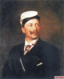 Wilhelm II as a corporal in the couleur of the Corps Borussia Bonn (dutiful and color-bearing); As Bonner Preuße he wears the white Stürmer as headgear.