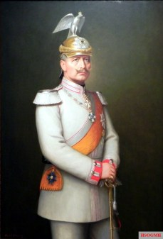 William II as regimental chief of the Regiment of the Gardes du Corps in white parade uniform; Painting by AH Hering, 1900.