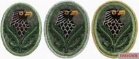 Complete set of the 1st, 2nd and 3rd level of the sniper badge, embroidered on uniform cloth - eagle and oak leaves with a single acorn of the militärischen Jäger.