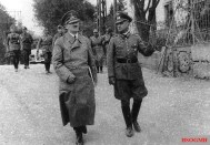Hitler touring the WWI battlefields of Arras with Heitz, a fellow veteran, May 1940.