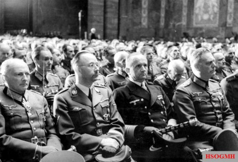 Günther von Kluge, Heinrich Himmler, Karl Doenitz, and Wilhelm Keitel at the memorial service for Colonel General Hans Valentin Hube on April 26, 1944.