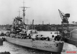 Bismarck Leaving Blohm & Voss Shipyard.