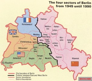 The four sectors of Berlin from 1945 to 1990.