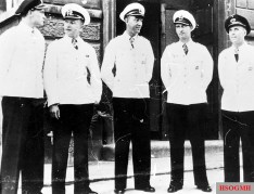 German submarine aces and Ritterkreuzträger (Knight's Cross recipients) of 29. Unterseebootsflottille (29. U-Flottille) at La Spezia, Northern Italy, between August and September 1942. They were all wearing Weißer Dienstrock (summer white uniform). From left to right: 1. Kapitänleutnant Friedrich Guggenberger (Kommandant U-81). 17 ships sunk (66,848 tons) from 10 patrols, 324 days at sea. Ritterkreuz on 10 December 1941 and Eichenlaub on 8 January 1943. 2. Kapitänleutnant Helmut Rosenbaum (Kommandant U-73). 9 ships sunk (57,863 tons) from 10 patrols, 265 days at sea. Ritterkreuz on 12 August 1942. 3. Kapitänleutnant Heinrich Schonder (Kommandant U-77). 15 ships sunk (29,368 tons) from 12 patrols, 291 days at sea. Ritterkreuz on 19 August 1942. 4. Kapitänleutnant Fritz Frauenheim (Flottillenchef 29. U-Flottille). 18 ships sunk (78,248 tons) from 9 patrols, 170 days at sea. Ritterkreuz on 29 August 1940. 5. Kapitänleutnant Hans-Werner Kraus (Kommandant U-83). 8 ships sunk (12,702 tons) from 10 patrols, 292 days at sea. Ritterkreuz on 19 June 1942.