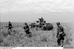Waffen-SS infantry and armour advancing, Summer 1942.