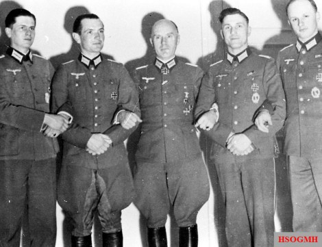 "Oberst Friedrich Gustav ""Fritz"" Jäger (center) with other officers of the Heer."