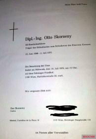 Invitation to Otto Skorzeny's funeral.