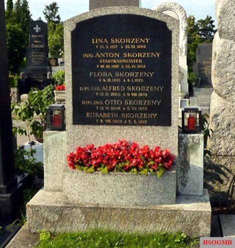 Otto Skorzeny in the family grave in Vienna.