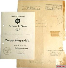 Paperwork for Otto Skorzeny's German Cross in Gold.