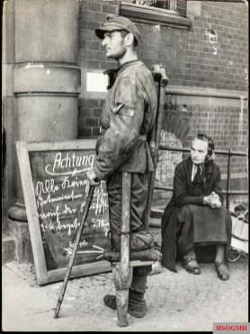 A released soldat afer the war in Berlin.
