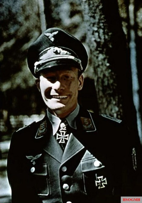 """Hauptmann Werner Baumbach (Gruppenkommandeur I.Gruppe / Kampfgeschwader 30 """"Adler"""") in the day he met Adolf Hitler (Führer und Oberster Befehlshaber der Wehrmacht) at Führerhauptquartier Werwolf in Vinnitsa, Ukraine, 27 August 1942."""