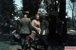 Generalfeldmarschall Walther von Reichenau (facing the camera, Oberbefehlshaber 6. Armee) in the summer of 1941 during Unternehmen Barbarossa - German invasion of Soviet Union.
