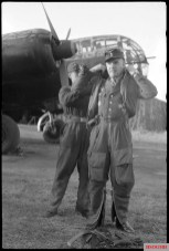 Oberst Karl Kessel of Geschwaderkommodore KG 2 (Kampfgeschwader 2) in front of a Dornier Do 217M UB+AM (Werknummer 4438) bomber. The picture was taken in Airfield of Melun-Villaroche, France.