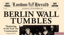British newspaper declaring the fall of the wall.