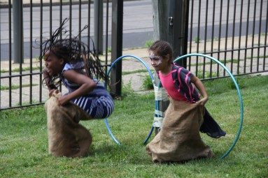 Sack races at Summerfest